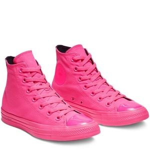 New Converse x OPI Hi Top Neon Pink Sneakers